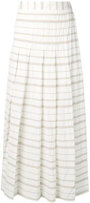Lorena Antoniazzi Striped Pleated Maxi Skirt