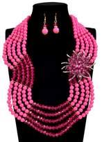 PSEZY_VINTAGE_Necklace PSNECK Nigerian wedding choker necklace acrylic african beads jewelry set Crystal flower statement necklace sets