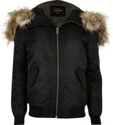 River Island MensBlack faux fur hooded bomber jacket