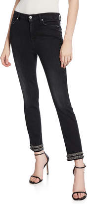 7 For All Mankind High-Waist Skinny Ankle Jeans with Fringe