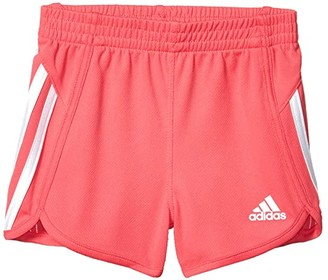 adidas Kids Stripe Mesh Shorts (Toddler/Little Kids) (Pink) Girl's Shorts