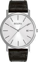Bulova Mens Silver-Tone Dial Black Leather Strap Watch 96B104