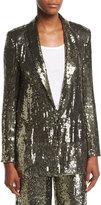 Alice + Olivia Jace Sequin Shawl-Collar Oversized Blazer