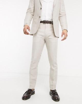 Lockstock slim fit suit trousers in linen ecru check