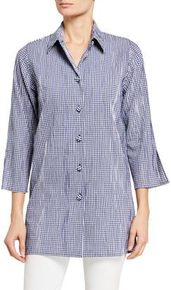 Caroline Rose Petite Gingham Crinkled Tunic Shirt