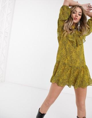 Bershka leopard print smock dress in yellow