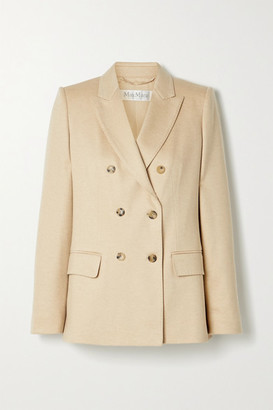 Max Mara Tempra Double-breasted Camel Hair-jersey Blazer - Beige