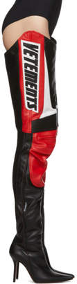 Vetements Black and Red Motorcycle Cuissardes Boots