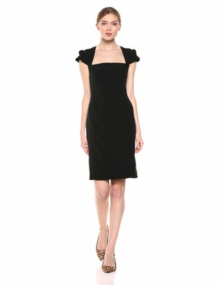 Lark & Ro Women's Pleated Ruffle Detail Cap Sleeve Square Neckline Sheath Dress