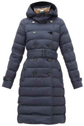Burberry Arniston Double-breasted Quilted-shell Coat - Womens - Navy