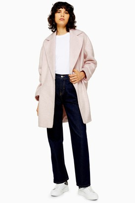 Topshop Womens Pink Double Breasted Coat - Pale Pink