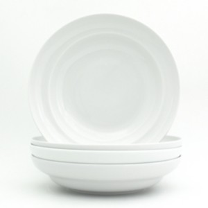 "Euro Ceramica White Essential 4 Piece 9"" Pasta Bowl Set"