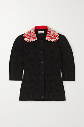 RED Valentino Embroidered Pointelle-knit Cotton Cardigan - Black