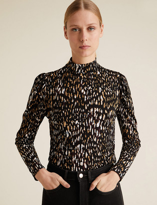Marks and Spencer Animal Print Funnel Neck Fitted Top
