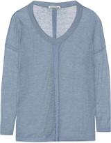 Autumn Cashmere Satin-trimmed cashmere sweater