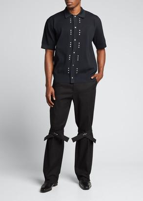 Bottega Veneta Men's Tech Jersey Rivet-Placket Polo Shirt