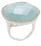 Meira T 14K White Gold, Milky Aqua & 0.45 Total Ct. Pave Diamond Ring