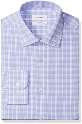Calvin Klein Men's Regular Fit Plaid Dress Shirt