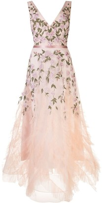 Marchesa Floral Embroidered Tulle Hem Gown