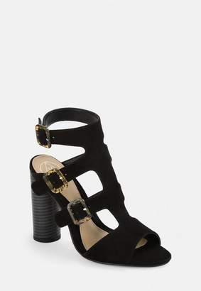 Missguided Black Multi Buckle Block Heeled Sandals