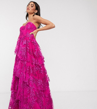 Bariano exclusive tiered floral dress in hot pink