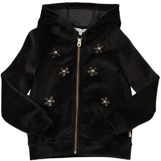 Little Marc Jacobs Velvet Sweatshirt Hoodie W/daisy Patches