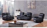 American Eagle Black Faux Leather Recliner Sofa Set