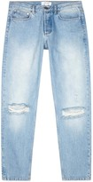 Soulland Erik Light Blue Distressed Straight-leg Jeans