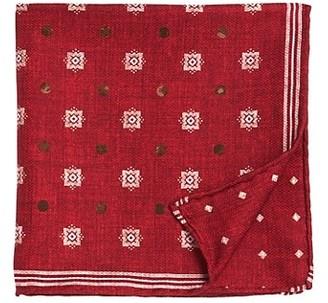 Brunello Cucinelli Polka Dot & Snowflake Silk Pocket Square