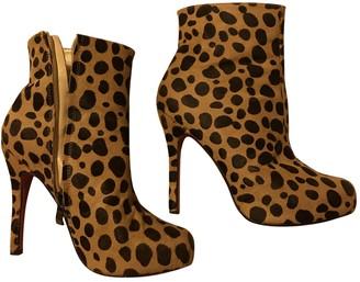 Christian Louboutin Beige Faux fur Ankle boots