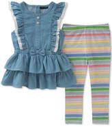 Tommy Hilfiger 2-Pc. Denim Tunic & Striped Leggings Set, Baby Girls