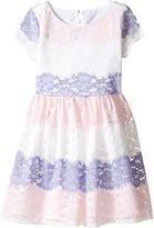 Us Angels Stripe Lace Dress w/ Cut Out Back (Big Kids)