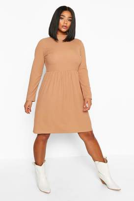 boohoo Plus High Neck Rib Long Sleeve Smock Dress