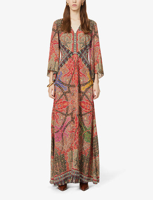 Etro Paisley and geometric-print flared silk gown