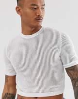 Asos Design ASOS DESIGN knitted sheer mesh cropped jumper in white