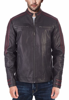 X-Ray X RAY Men's Slim Fit Faux Leather Racer Jacket