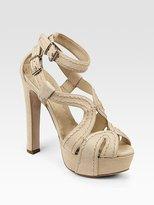 Stitch-Detail Platform Sandals