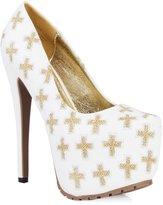 Privileged Shoes Pottre Almond Toe Gold Cross Embroidered Platform Pump