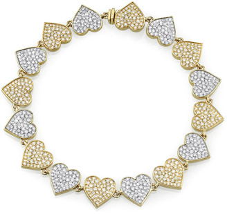 Sydney Evan Two-Tone 14k Gold Diamond Heart Eternity Bracelet