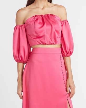 Express Ladygang Off The Shoulder Cropped Sweetheart Top