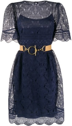 Alberta Ferretti Lace Overlay Dress