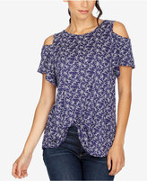 Lucky Brand Printed Cold-Shoulder T-Shirt