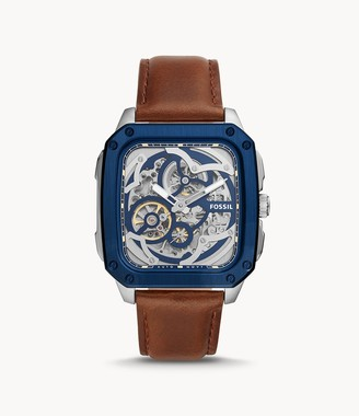 Fossil Inscription Automatic Brown Leather Watch