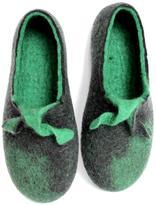 Men's Green Mustache Wool Slippers