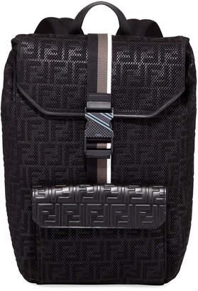Fendi Men's FF-Embossed Mesh Flap-Top Backpack