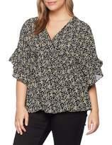 Lost Ink Plus LOST INK PLUS Women's Smock TOP in Ditsy Floral Regular Fit Floral V-Neck Short Sleeve T - Shirt