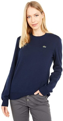 Lacoste Long Sleeve Crew Neck Solid Color Sweater (Navy Blue/Green) Women's Clothing