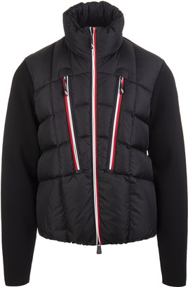 MONCLER GRENOBLE Man Cardigan In Black Wool With Padded Panel And Tricolor Profiles