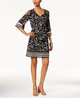 Style&Co. Style & Co Floral-Print Cold-Shoulder Dress, Only at Macy's