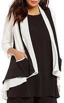 IC Collection Draped Neck Open-Front Jacket